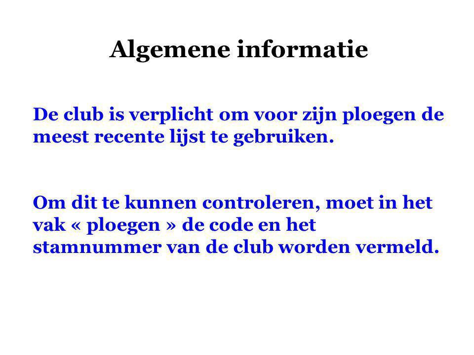 Algemene informatie De club is verplicht om voor zijn ploegen de meest recente lijst te gebruiken.
