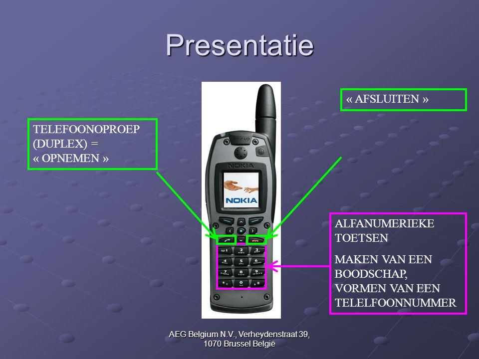 AEG Belgium N.V., Verheydenstraat 39, 1070 Brussel België Presentatie ALFANUMERIEKE TOETSEN MAKEN VAN EEN BOODSCHAP, VORMEN VAN EEN TELELFOONNUMMER «