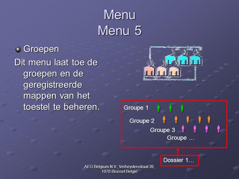 AEG Belgium N.V., Verheydenstraat 39, 1070 Brussel België Menu Menu 5 Groepen Dit menu laat toe de groepen en de geregistreerde mappen van het toestel