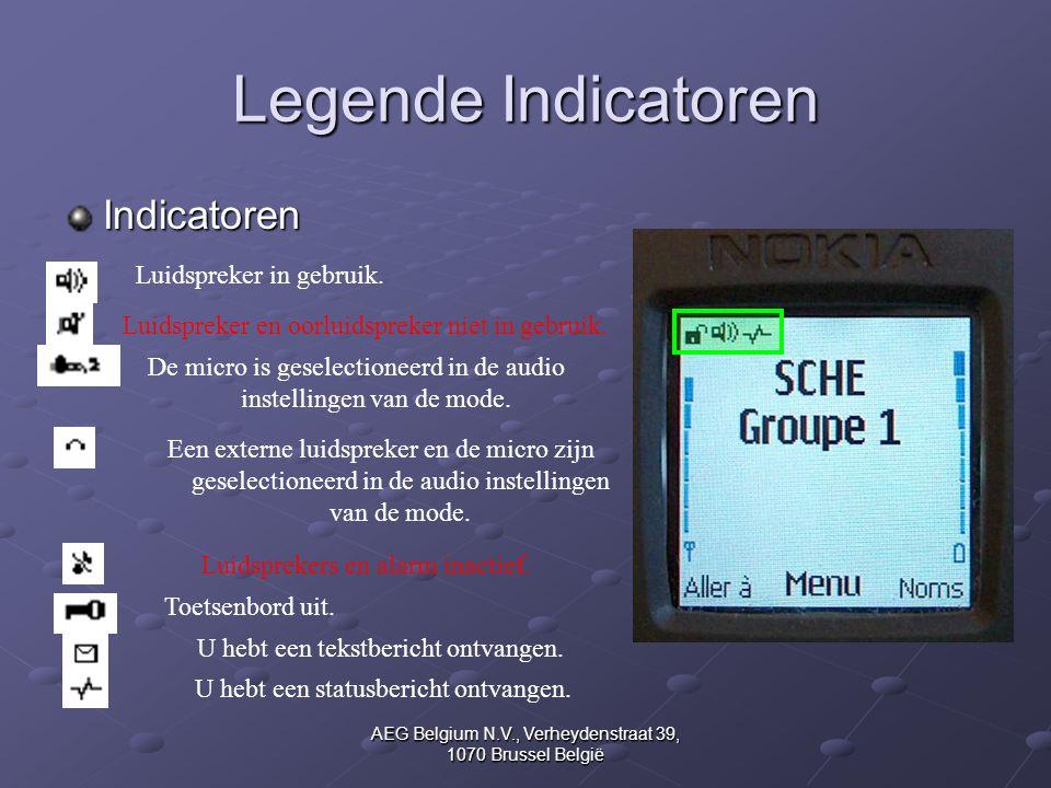 AEG Belgium N.V., Verheydenstraat 39, 1070 Brussel België Legende Indicatoren Indicatoren Luidspreker in gebruik. Luidspreker en oorluidspreker niet i