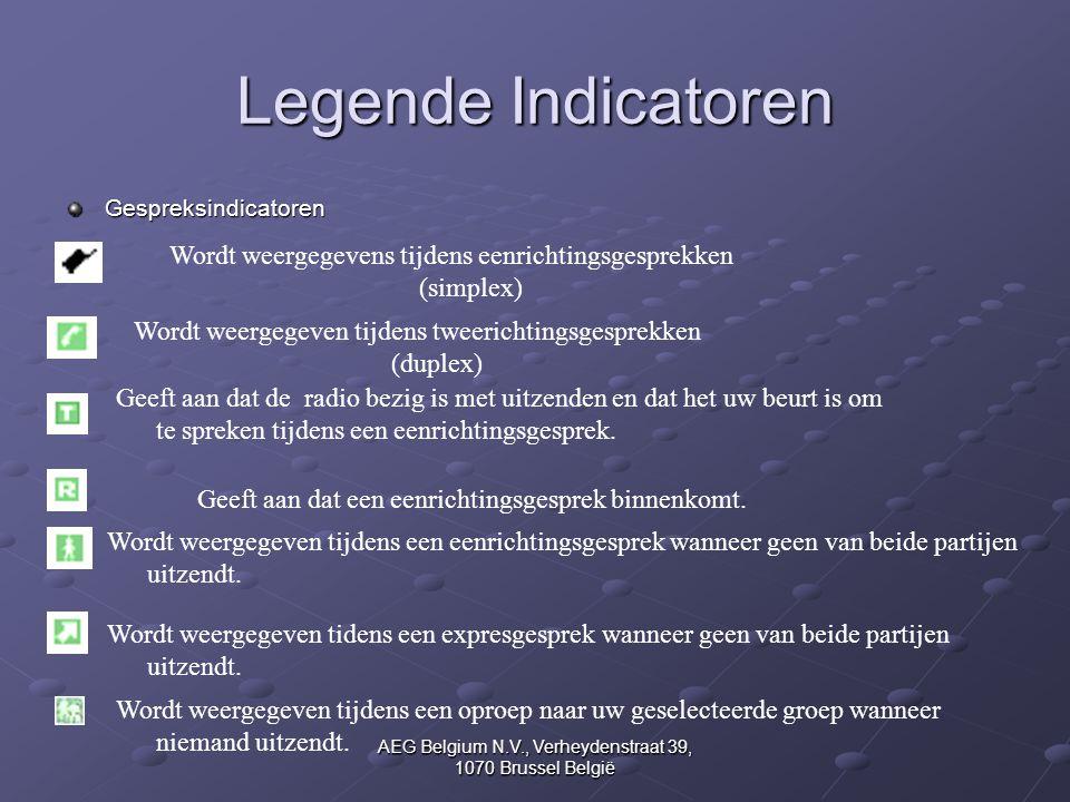 AEG Belgium N.V., Verheydenstraat 39, 1070 Brussel België Legende Indicatoren Gespreksindicatoren Wordt weergegevens tijdens eenrichtingsgesprekken (s