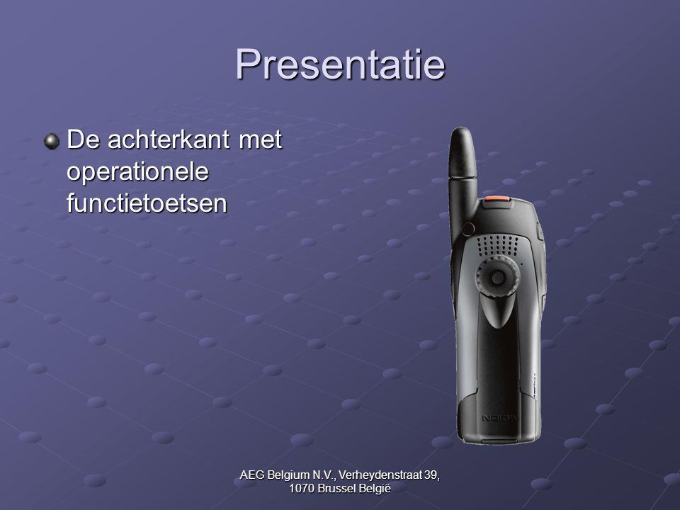 AEG Belgium N.V., Verheydenstraat 39, 1070 Brussel België Presentatie De achterkant met operationele functietoetsen
