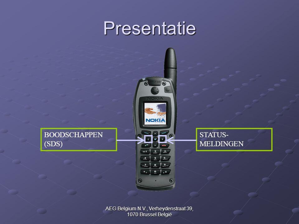 AEG Belgium N.V., Verheydenstraat 39, 1070 Brussel België Presentatie BOODSCHAPPEN (SDS) STATUS- MELDINGEN