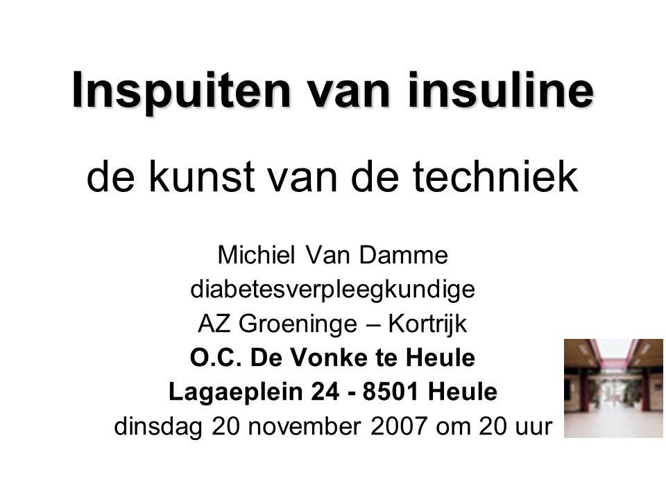 Inspuiten van insuline de kunst van de techniek Michiel Van Damme diabetesverpleegkundige AZ Groeninge – Kortrijk O.C. De Vonke te Heule Lagaeplein 24