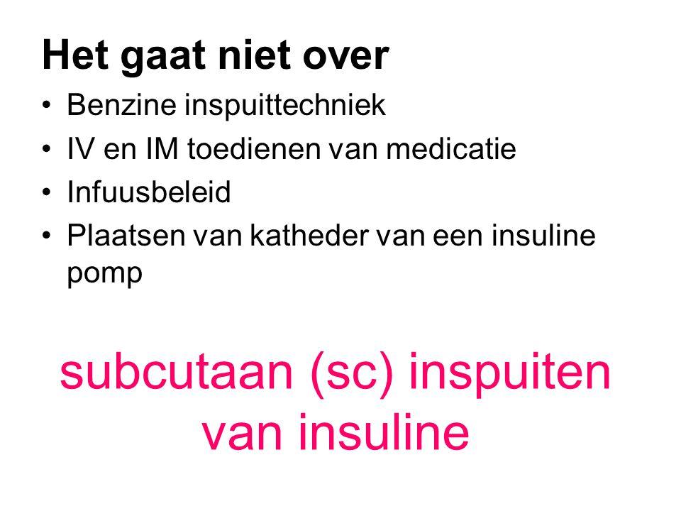 •Wat: insuline, glucagon •Waar: inspuitlijnen op buik en dij •Wanneer: vóór de maaltijd, op een vast tijdstip •Wie:de patiënt •Waarom:optimale glucosespiegel •Hoe:loodrecht, zonder plooivorming naaldhygiëne •Hoeveel:afhankelijk van