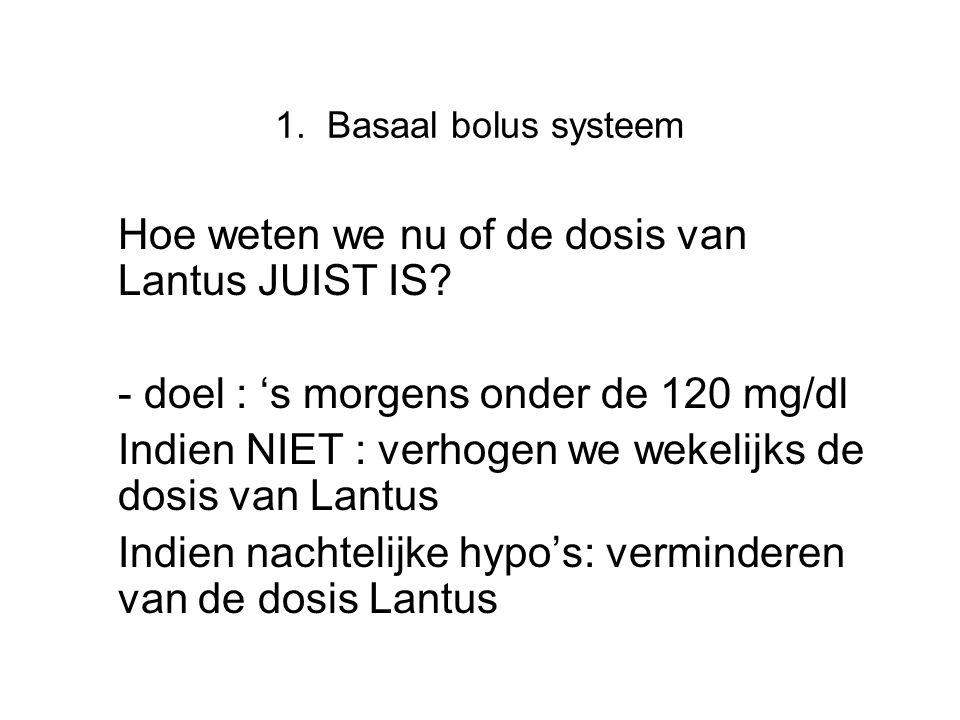 1. Basaal bolus systeem Hoe weten we nu of de dosis van Lantus JUIST IS? - doel : 's morgens onder de 120 mg/dl Indien NIET : verhogen we wekelijks de