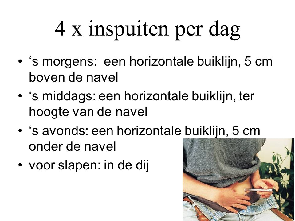 4 x inspuiten per dag •'s morgens: een horizontale buiklijn, 5 cm boven de navel •'s middags: een horizontale buiklijn, ter hoogte van de navel •'s av