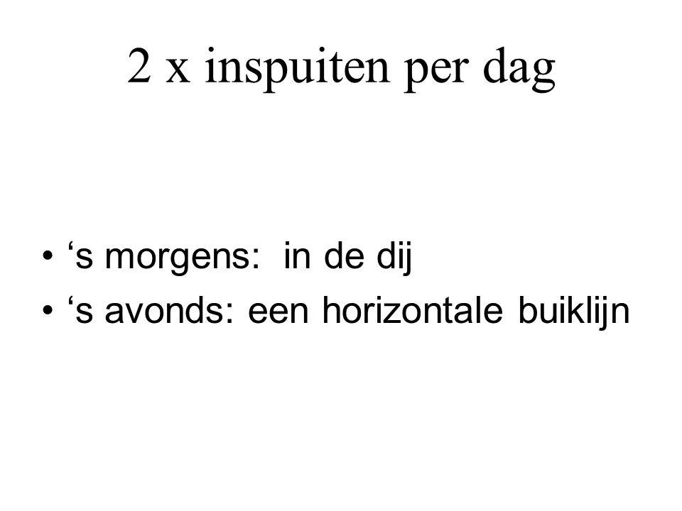 2 x inspuiten per dag •'s morgens: in de dij •'s avonds: een horizontale buiklijn