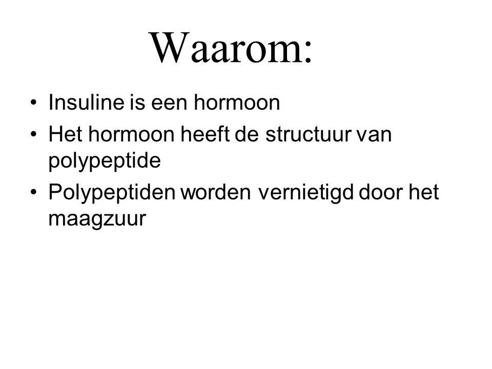 Waarom: •Insuline is een hormoon •Het hormoon heeft de structuur van polypeptide •Polypeptiden worden vernietigd door het maagzuur