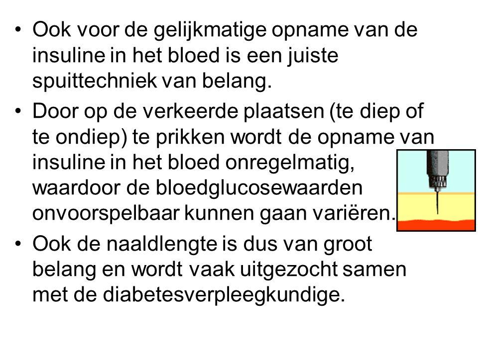 •Ook voor de gelijkmatige opname van de insuline in het bloed is een juiste spuittechniek van belang. •Door op de verkeerde plaatsen (te diep of te on