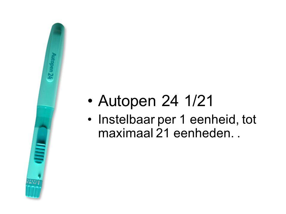 •Autopen 24 1/21 •Instelbaar per 1 eenheid, tot maximaal 21 eenheden..
