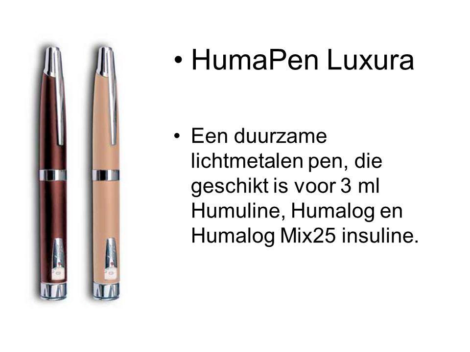 •HumaPen Luxura •Een duurzame lichtmetalen pen, die geschikt is voor 3 ml Humuline, Humalog en Humalog Mix25 insuline.