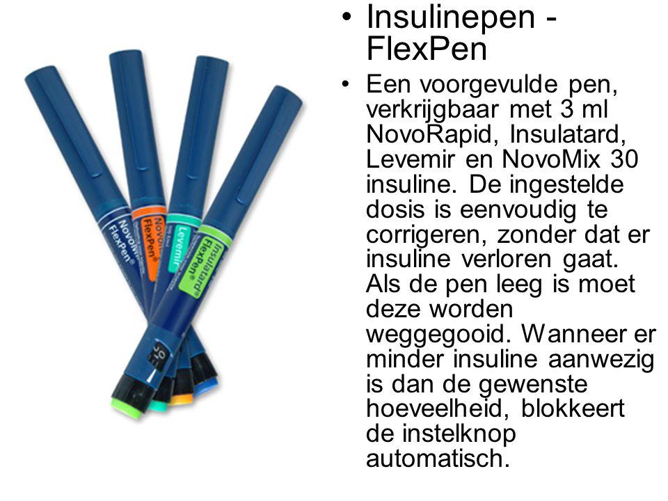 •Insulinepen - FlexPen •Een voorgevulde pen, verkrijgbaar met 3 ml NovoRapid, Insulatard, Levemir en NovoMix 30 insuline. De ingestelde dosis is eenvo