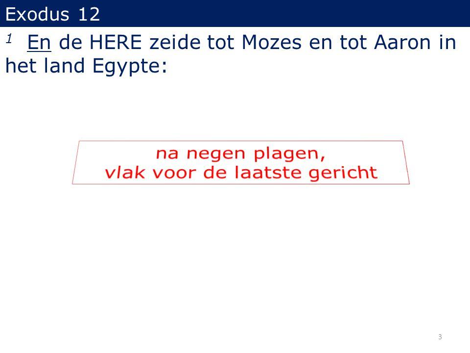 Exodus 12 1 En de HERE zeide tot Mozes en tot Aaron in het land Egypte: 3