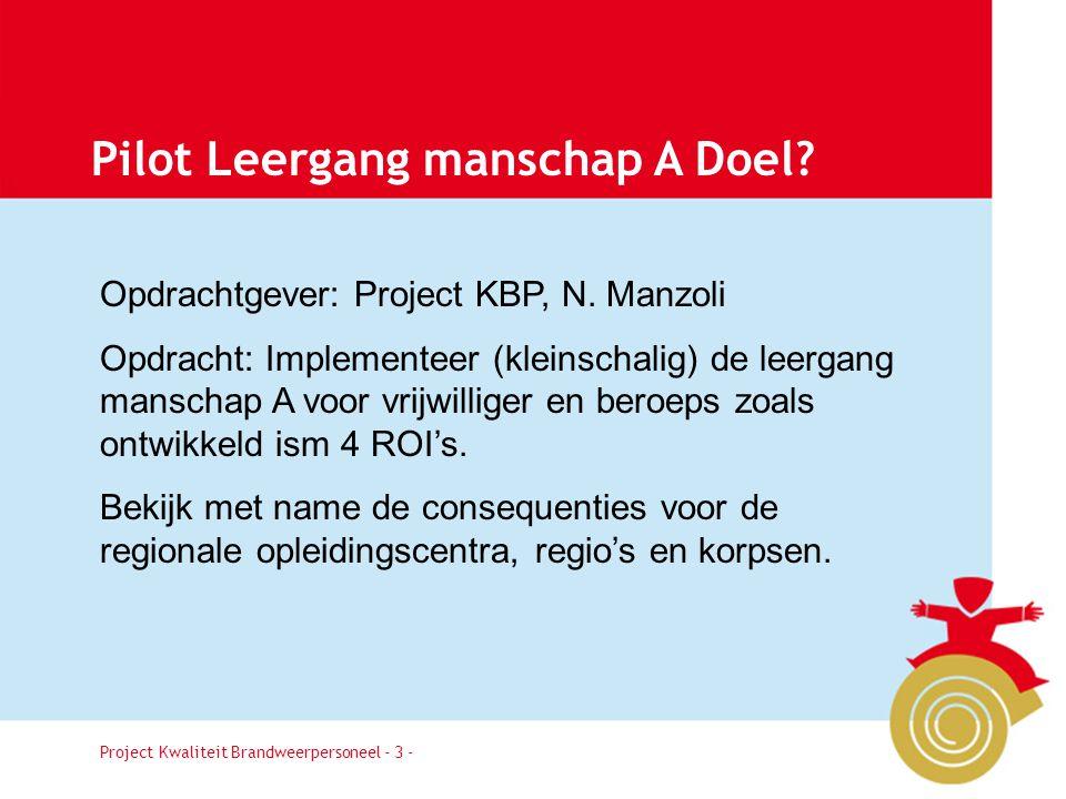 Project Kwaliteit Brandweerpersoneel Pagina 3 Pilot Leergang manschap A Doel.