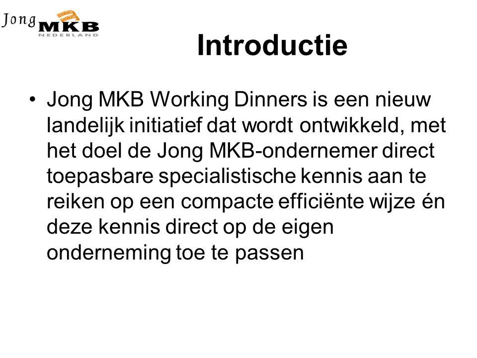 Introductie •Jong MKB Working Dinners is een nieuw landelijk initiatief dat wordt ontwikkeld, met het doel de Jong MKB-ondernemer direct toepasbare specialistische kennis aan te reiken op een compacte efficiënte wijze én deze kennis direct op de eigen onderneming toe te passen