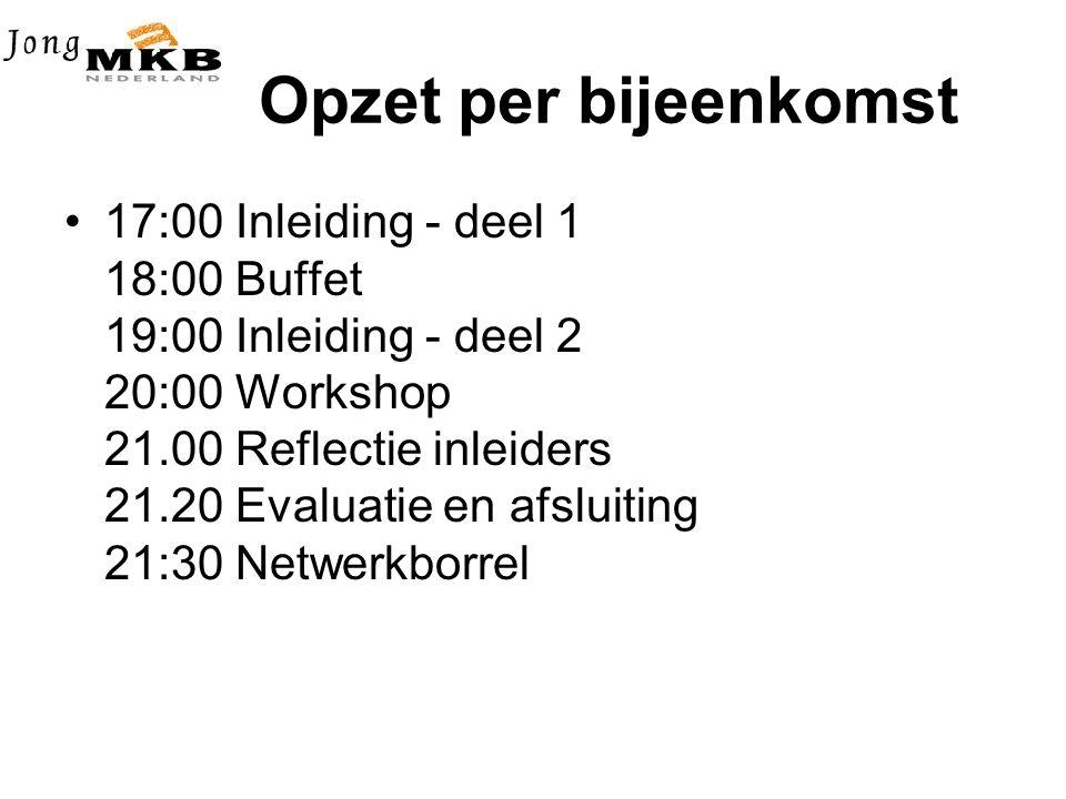 Opzet per bijeenkomst •17:00 Inleiding - deel 1 18:00 Buffet 19:00 Inleiding - deel 2 20:00 Workshop 21.00 Reflectie inleiders 21.20 Evaluatie en afsluiting 21:30 Netwerkborrel