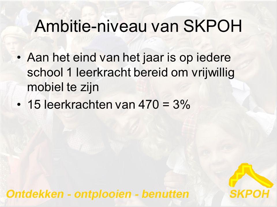 Ambitie-niveau van SKPOH •Aan het eind van het jaar is op iedere school 1 leerkracht bereid om vrijwillig mobiel te zijn •15 leerkrachten van 470 = 3%