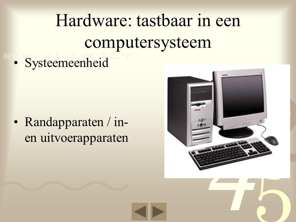 Hardware: tastbaar in een computersysteem •Systeemeenheid •Randapparaten / in- en uitvoerapparaten
