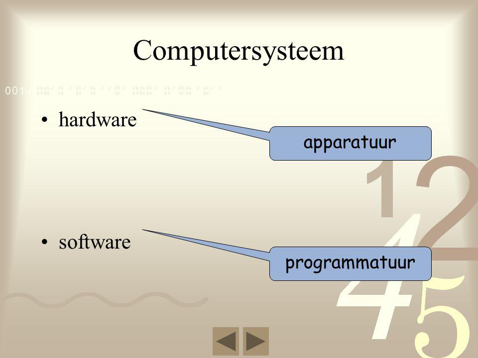 Computersysteem •hardware •software apparatuur programmatuur