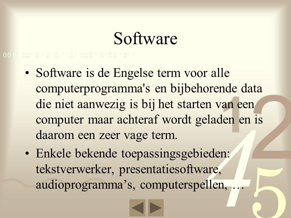 Programmatuur •Naast alle tastbare onderdelen zijn er ook opdrachten nodig, dit noemen we programmatuur.
