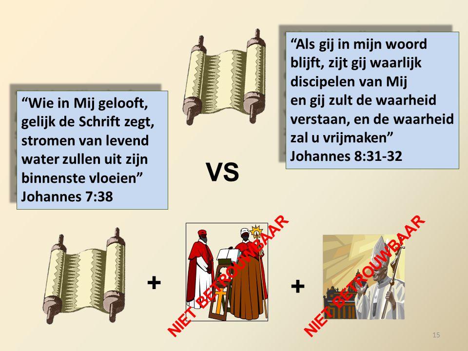 """VS + + NIET BETROUWBAAR """"Wie in Mij gelooft, gelijk de Schrift zegt, stromen van levend water zullen uit zijn binnenste vloeien"""" Johannes 7:38 """"Als gi"""