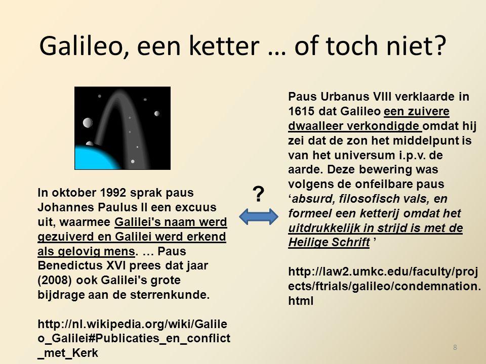 Galileo, een ketter … of toch niet? Paus Urbanus VIII verklaarde in 1615 dat Galileo een zuivere dwaalleer verkondigde omdat hij zei dat de zon het mi