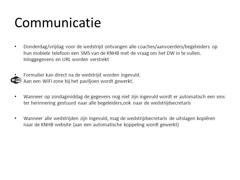 Communicatie • Donderdag/vrijdag voor de wedstrijd ontvangen alle coaches/aanvoerders/begeleiders op hun mobiele telefoon een SMS van de KNHB met de v