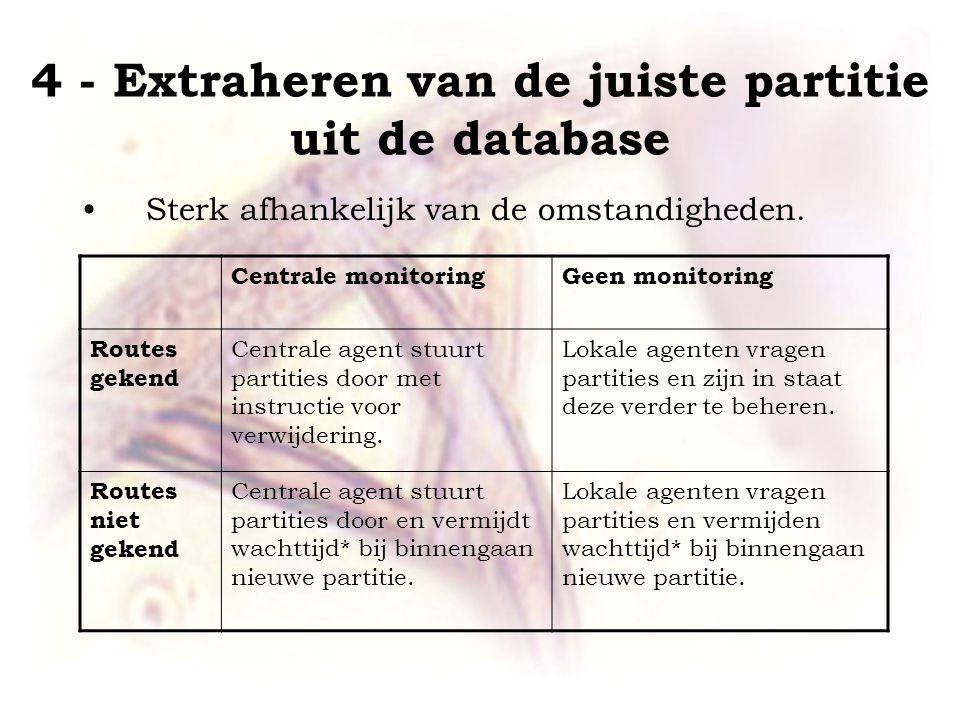 4 - Extraheren van de juiste partitie uit de database •Sterk afhankelijk van de omstandigheden.