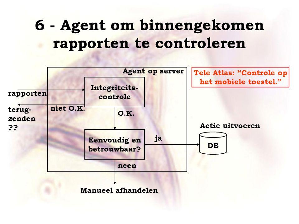 6 - Agent om binnengekomen rapporten te controleren rapporten Agent op server Integriteits- controle Eenvoudig en betrouwbaar.