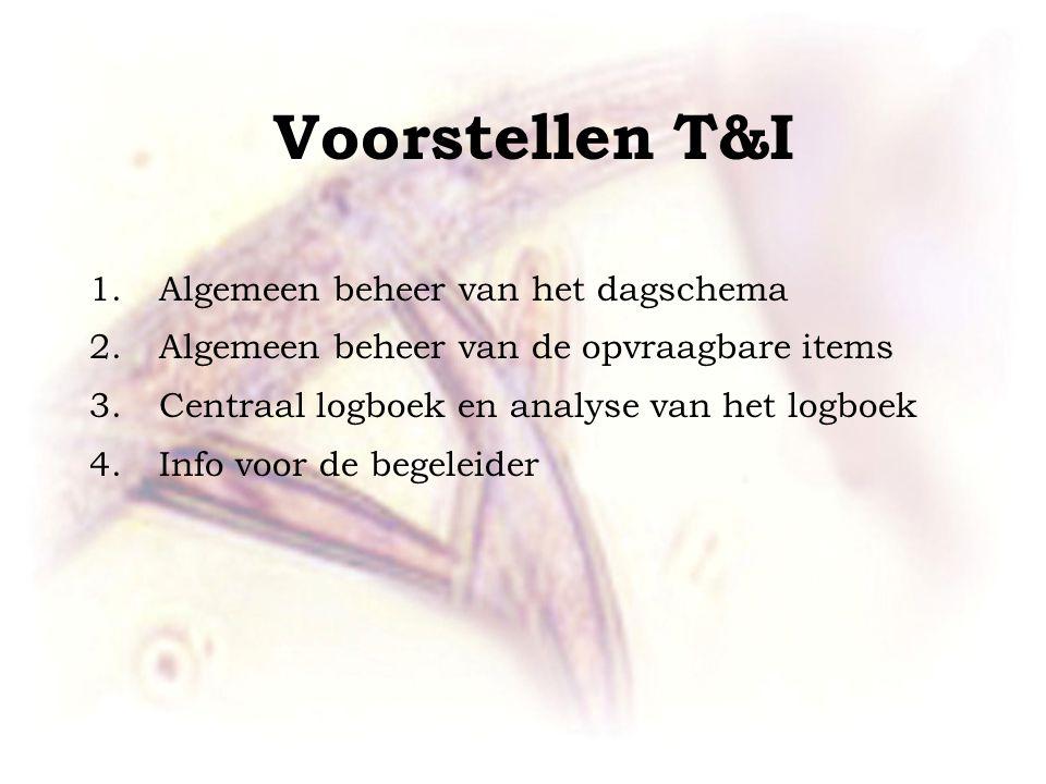 Voorstellen T&I 1.Algemeen beheer van het dagschema 2.Algemeen beheer van de opvraagbare items 3.Centraal logboek en analyse van het logboek 4.Info voor de begeleider