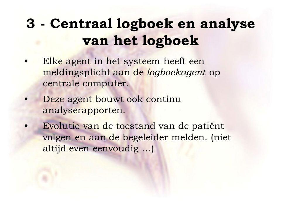 3 - Centraal logboek en analyse van het logboek •Elke agent in het systeem heeft een meldingsplicht aan de logboekagent op centrale computer.