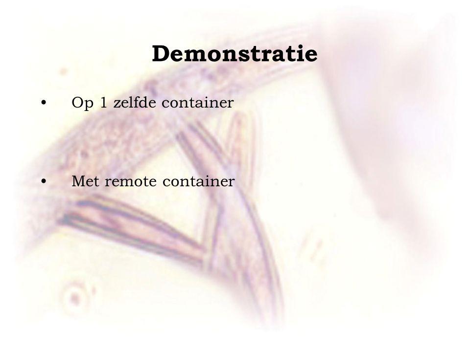 Demonstratie •Op 1 zelfde container •Met remote container