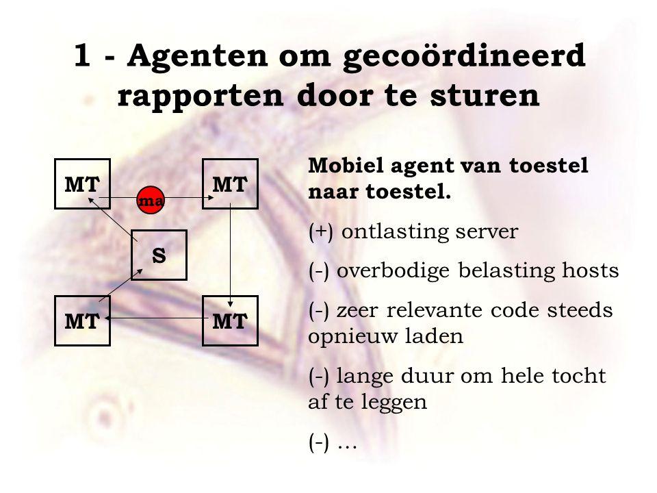 1 - Agenten om gecoördineerd rapporten door te sturen MT S Mobiel agent van toestel naar toestel.