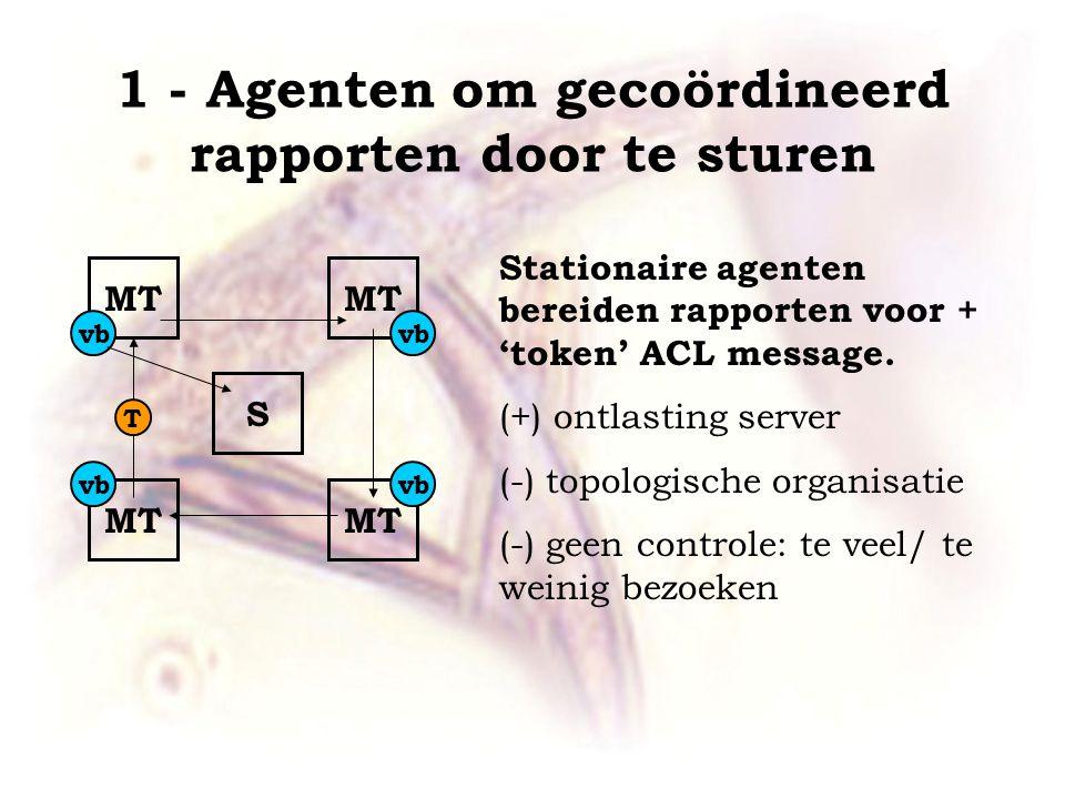 1 - Agenten om gecoördineerd rapporten door te sturen MT S Stationaire agenten bereiden rapporten voor + 'token' ACL message.