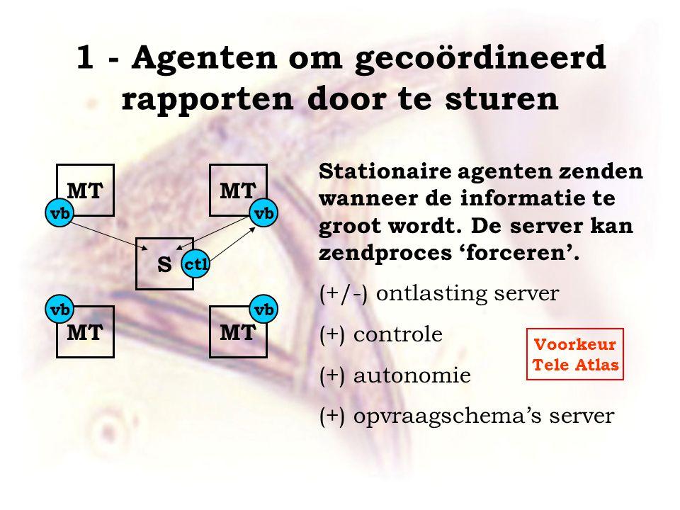 1 - Agenten om gecoördineerd rapporten door te sturen MT S Stationaire agenten zenden wanneer de informatie te groot wordt.