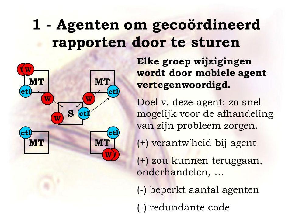 1 - Agenten om gecoördineerd rapporten door te sturen MT S Elke groep wijzigingen wordt door mobiele agent vertegenwoordigd.