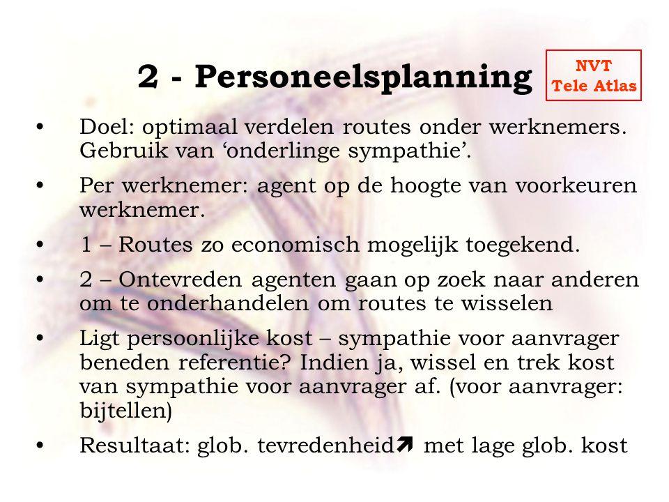 2 - Personeelsplanning •Doel: optimaal verdelen routes onder werknemers.