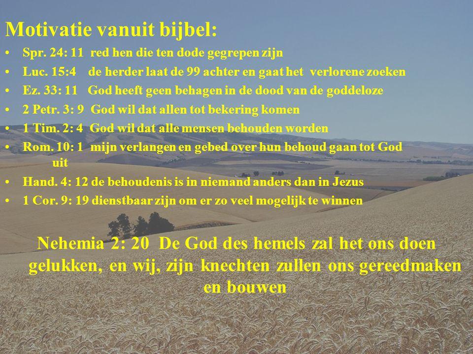 Motivatie vanuit bijbel: •Spr.24: 11 red hen die ten dode gegrepen zijn •Luc.