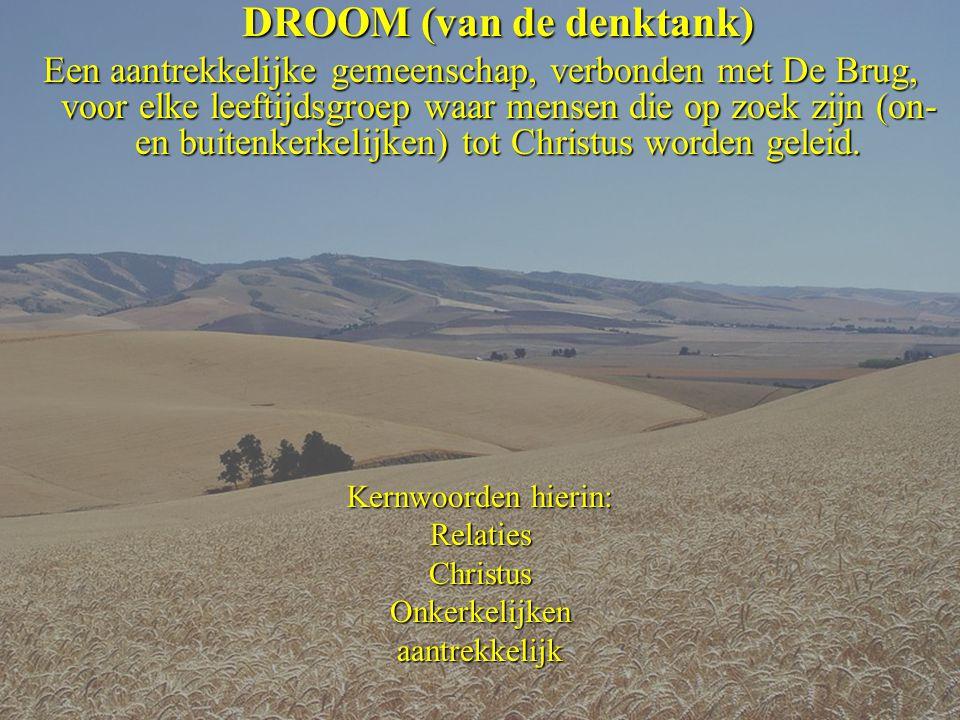 DROOM (van de denktank) Een aantrekkelijke gemeenschap, verbonden met De Brug, voor elke leeftijdsgroep waar mensen die op zoek zijn (on- en buitenkerkelijken) tot Christus worden geleid.