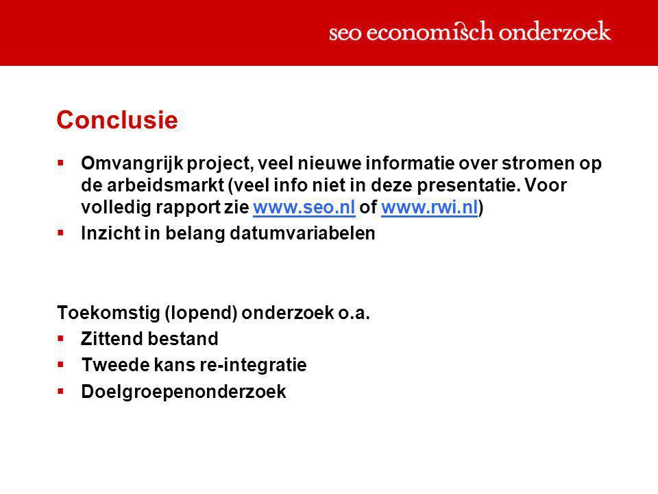 Conclusie  Omvangrijk project, veel nieuwe informatie over stromen op de arbeidsmarkt (veel info niet in deze presentatie. Voor volledig rapport zie