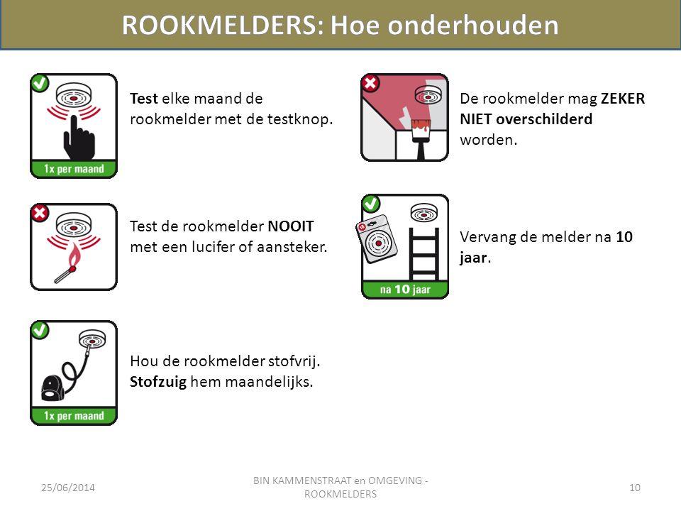 25/06/2014 BIN KAMMENSTRAAT en OMGEVING - ROOKMELDERS 10 Test elke maand de rookmelder met de testknop. De rookmelder mag ZEKER NIET overschilderd wor