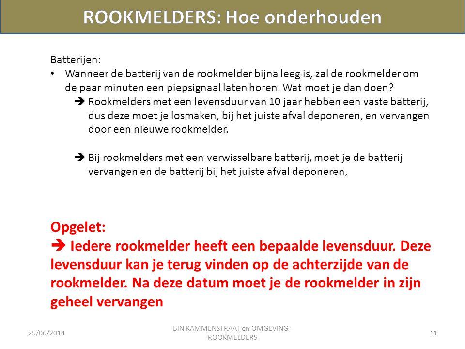 25/06/2014 BIN KAMMENSTRAAT en OMGEVING - ROOKMELDERS 11 Batterijen: • Wanneer de batterij van de rookmelder bijna leeg is, zal de rookmelder om de pa