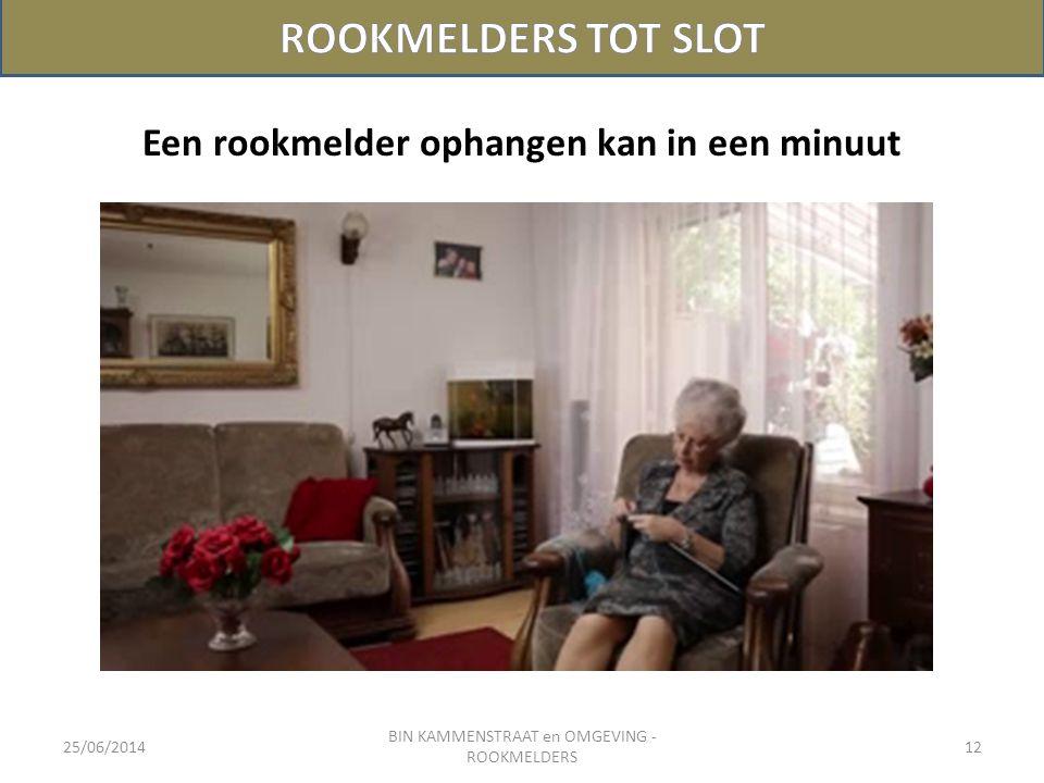 25/06/2014 BIN KAMMENSTRAAT en OMGEVING - ROOKMELDERS 12 Een rookmelder ophangen kan in een minuut