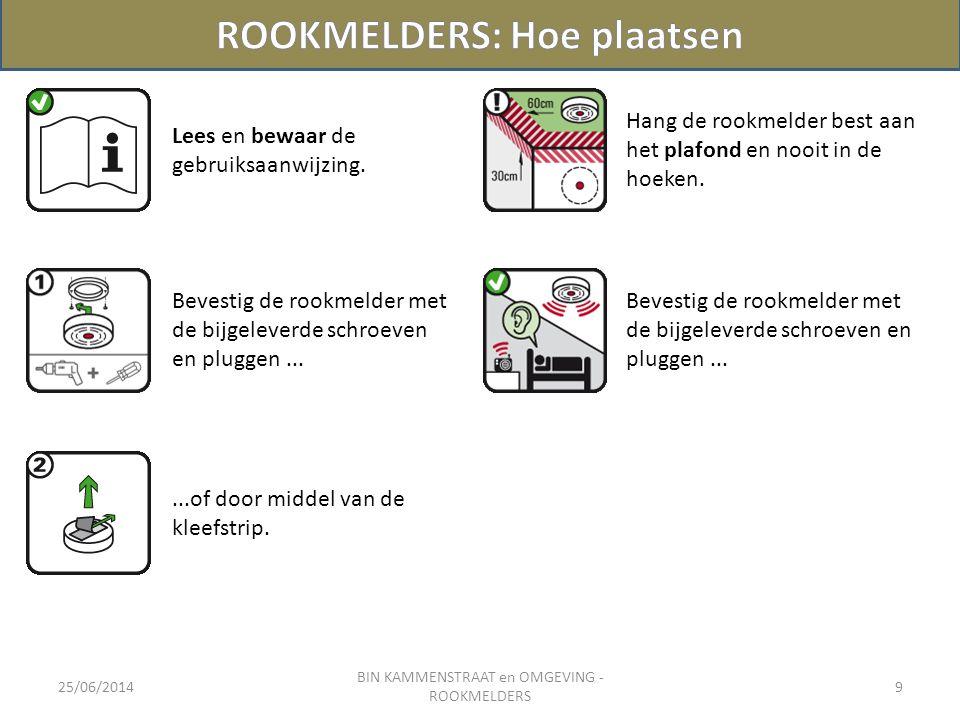 25/06/2014 BIN KAMMENSTRAAT en OMGEVING - ROOKMELDERS 9 Lees en bewaar de gebruiksaanwijzing. Bevestig de rookmelder met de bijgeleverde schroeven en