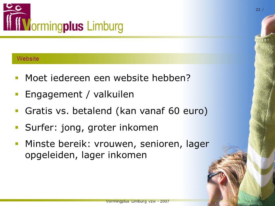 Vormingplus Limburg vzw - 2007 22 / Website  Moet iedereen een website hebben?  Engagement / valkuilen  Gratis vs. betalend (kan vanaf 60 euro)  S