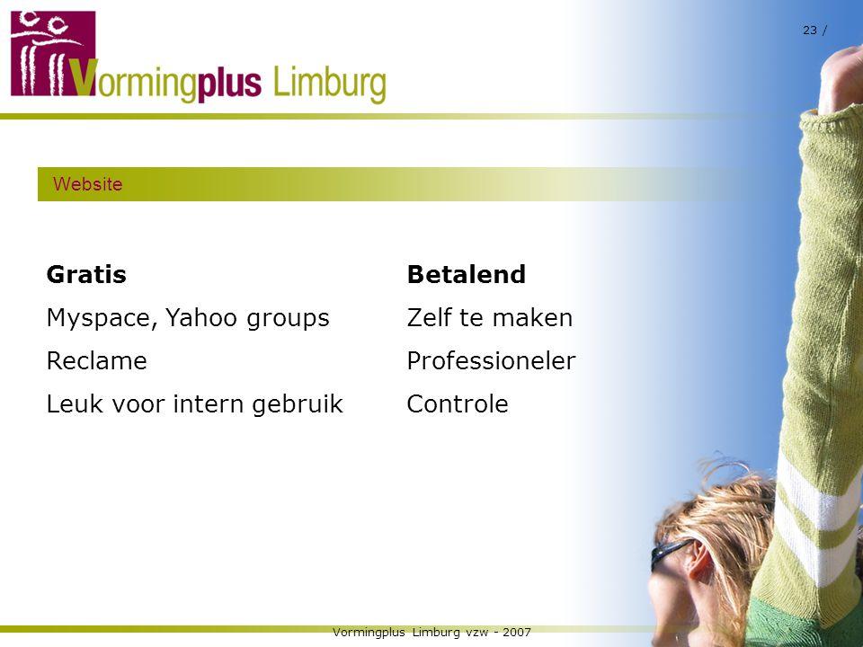 Vormingplus Limburg vzw - 2007 23 / Website Gratis Myspace, Yahoo groups Reclame Leuk voor intern gebruik Betalend Zelf te maken Professioneler Contro