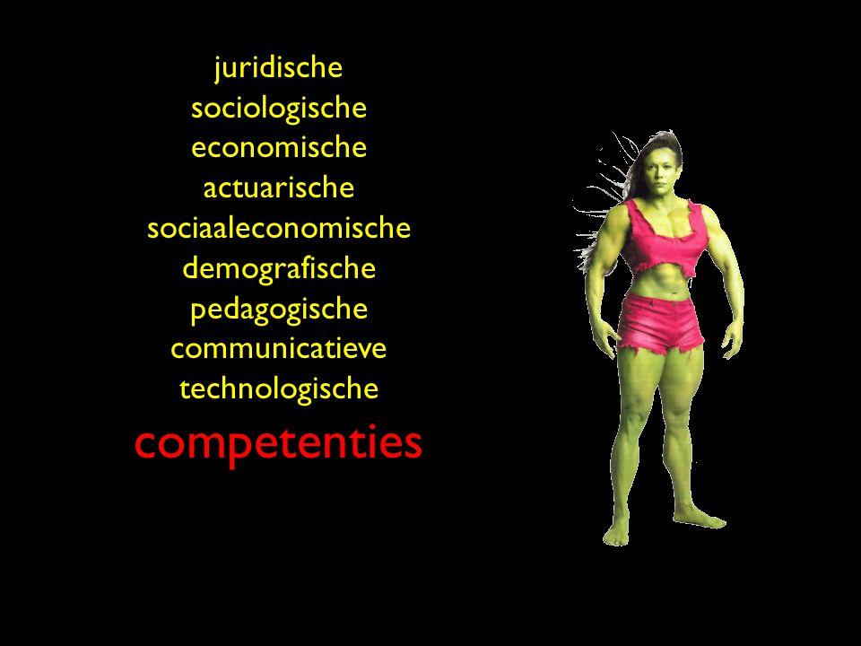 juridische sociologische economische actuarische sociaaleconomische demografische pedagogische communicatieve technologische competenties