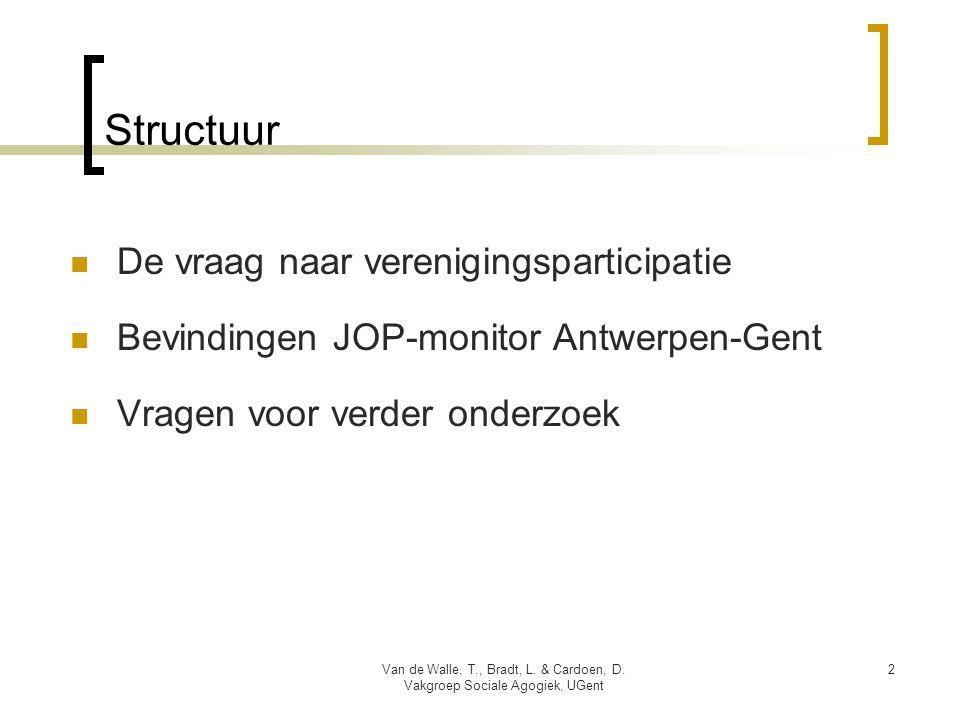 2 Structuur  De vraag naar verenigingsparticipatie  Bevindingen JOP-monitor Antwerpen-Gent  Vragen voor verder onderzoek Van de Walle, T., Bradt, L