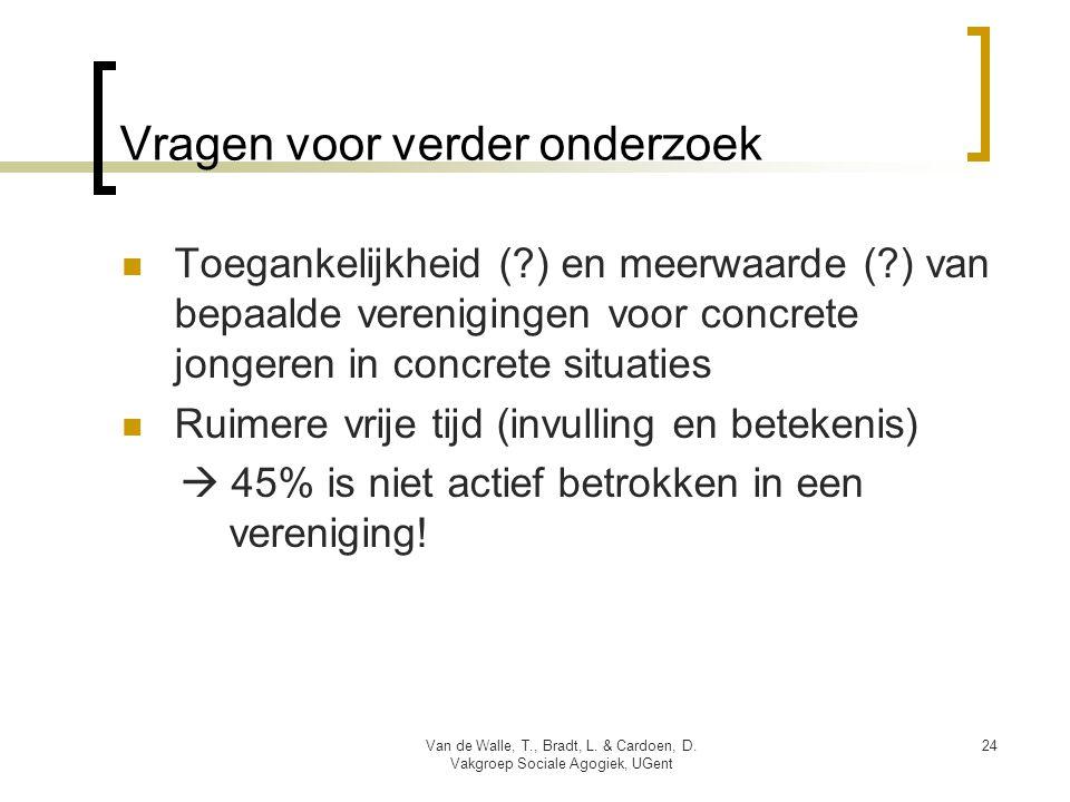 Vragen voor verder onderzoek  Toegankelijkheid ( ) en meerwaarde ( ) van bepaalde verenigingen voor concrete jongeren in concrete situaties  Ruimere vrije tijd (invulling en betekenis)  45% is niet actief betrokken in een vereniging.